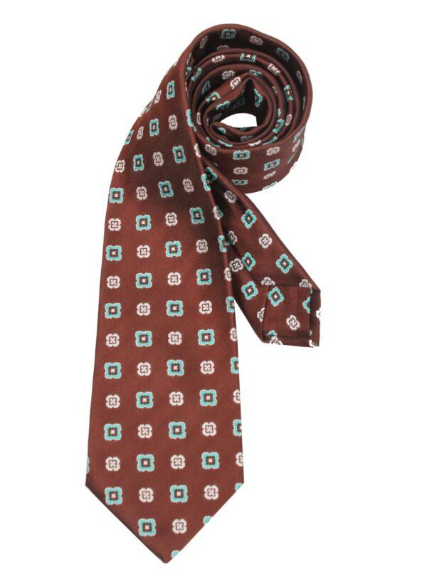 Kiton Napoli silk tie handmade brown