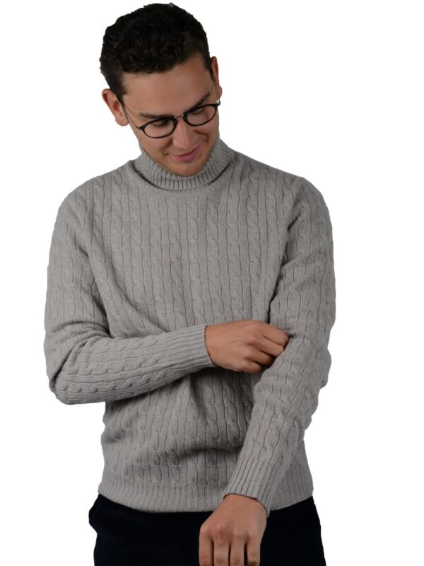 Cordone1956 turtleneck cable knitwear wool cashmere gray