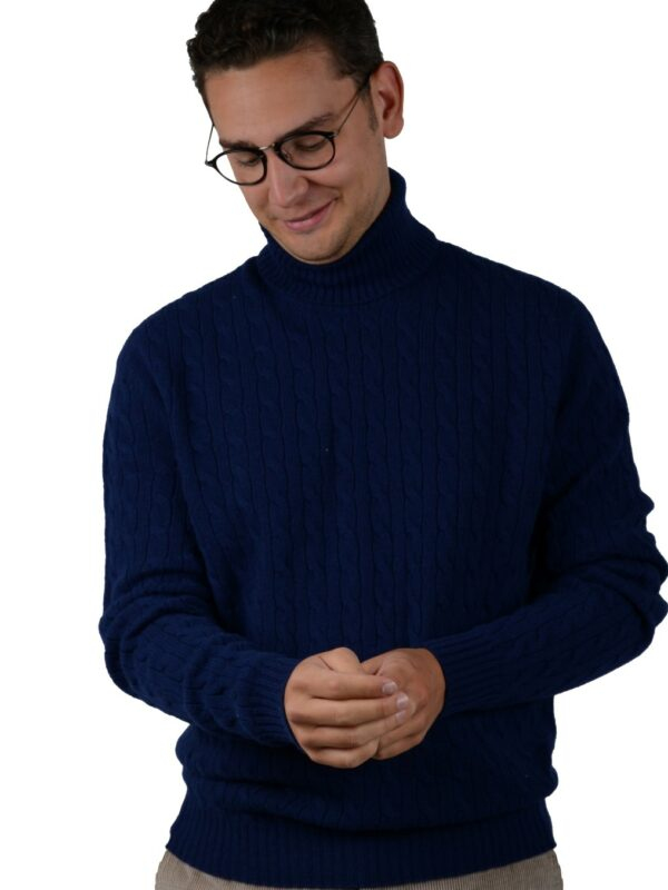 Cordone1956 turtleneck cable knitwear wool cashmere navy
