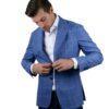 Cordone1956 wool silk linen blazer blue check