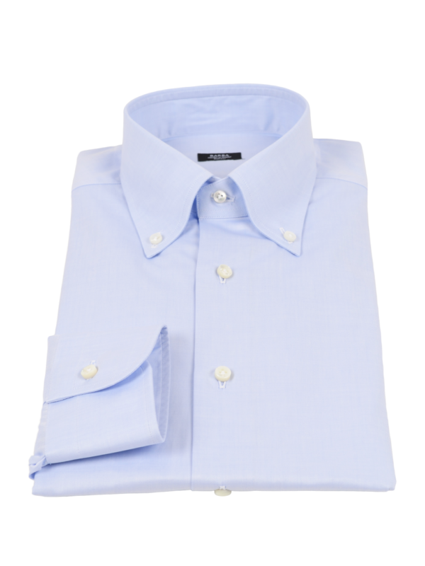 Barba Napoli twill button down shirt light blue