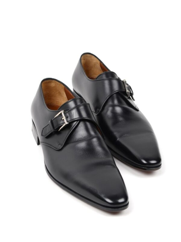 A.testoni single monk strap black
