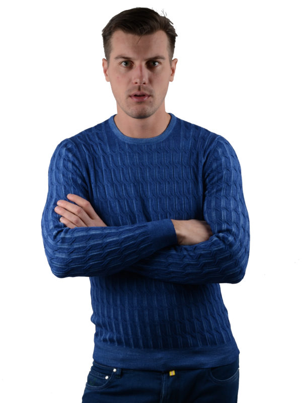 Barba Napoli sweater blue cable