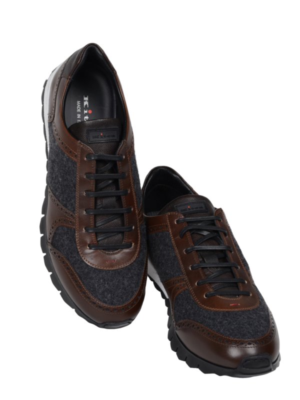 Kiton sneakers leather wool