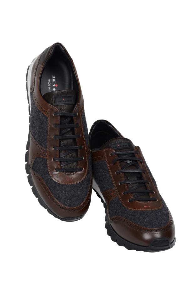 Kiton sneakers leather wool