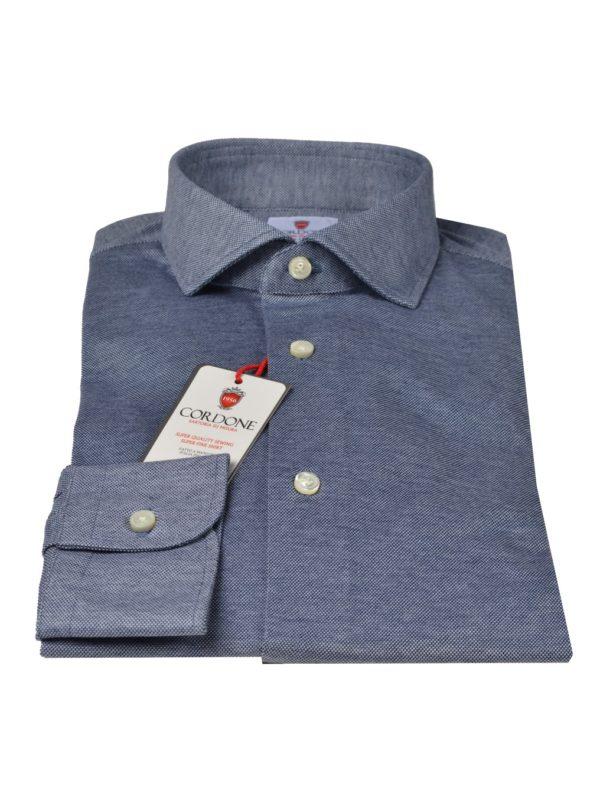 Cordone1956 pique shirt blue
