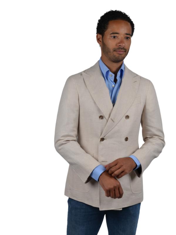 Stile Latino linen cotton double breasted blazer