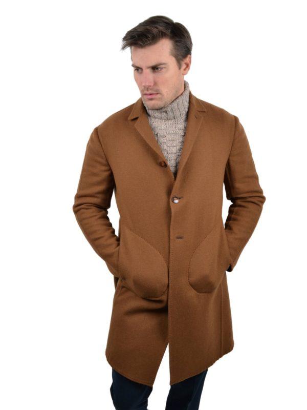 Stile Latino cashmere coat caramel brown