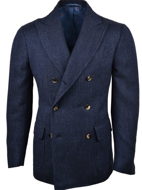 Stile Latino wool silk linen blazer navy