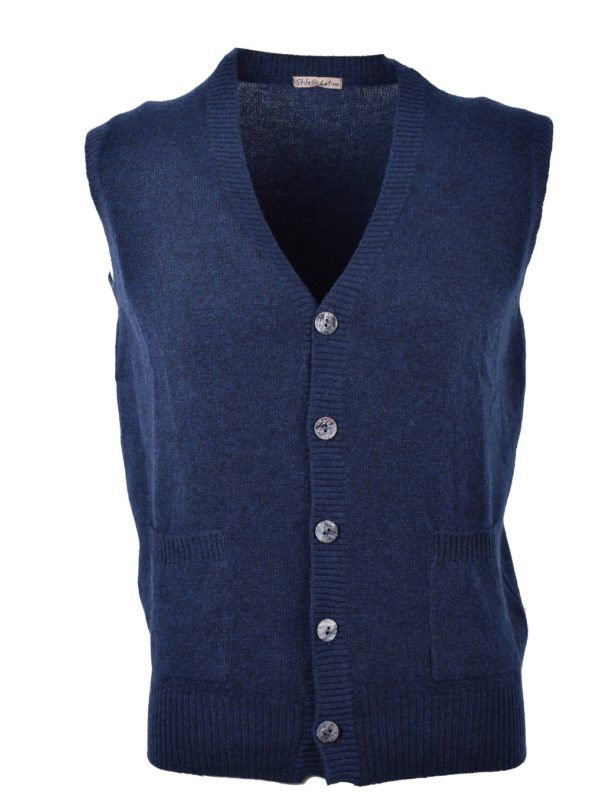 Stile Latino cashmere sleeveless cardigan blue