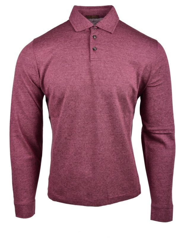 Stile Latino linen cotton silk polo shirt cherry color