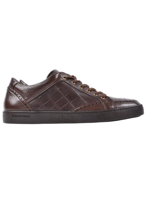 Stefano Ricci crocodile sneakers brown