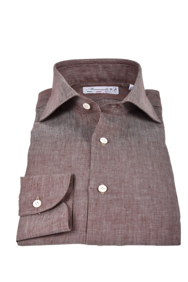 Masaniello Napoli linen shirt brown