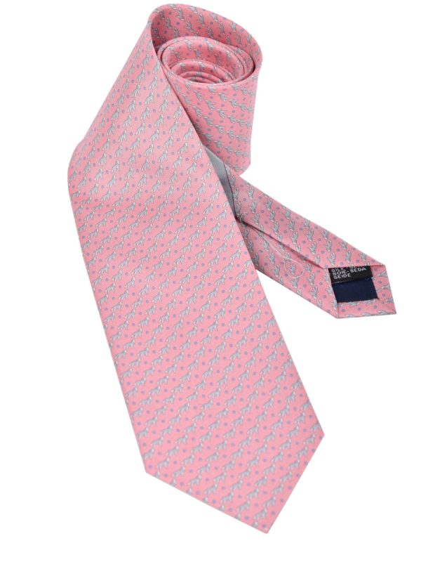Salvatore Ferragamo tie dog print pink
