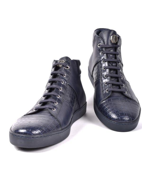 Stefano Ricci Crocodile sneakers blue